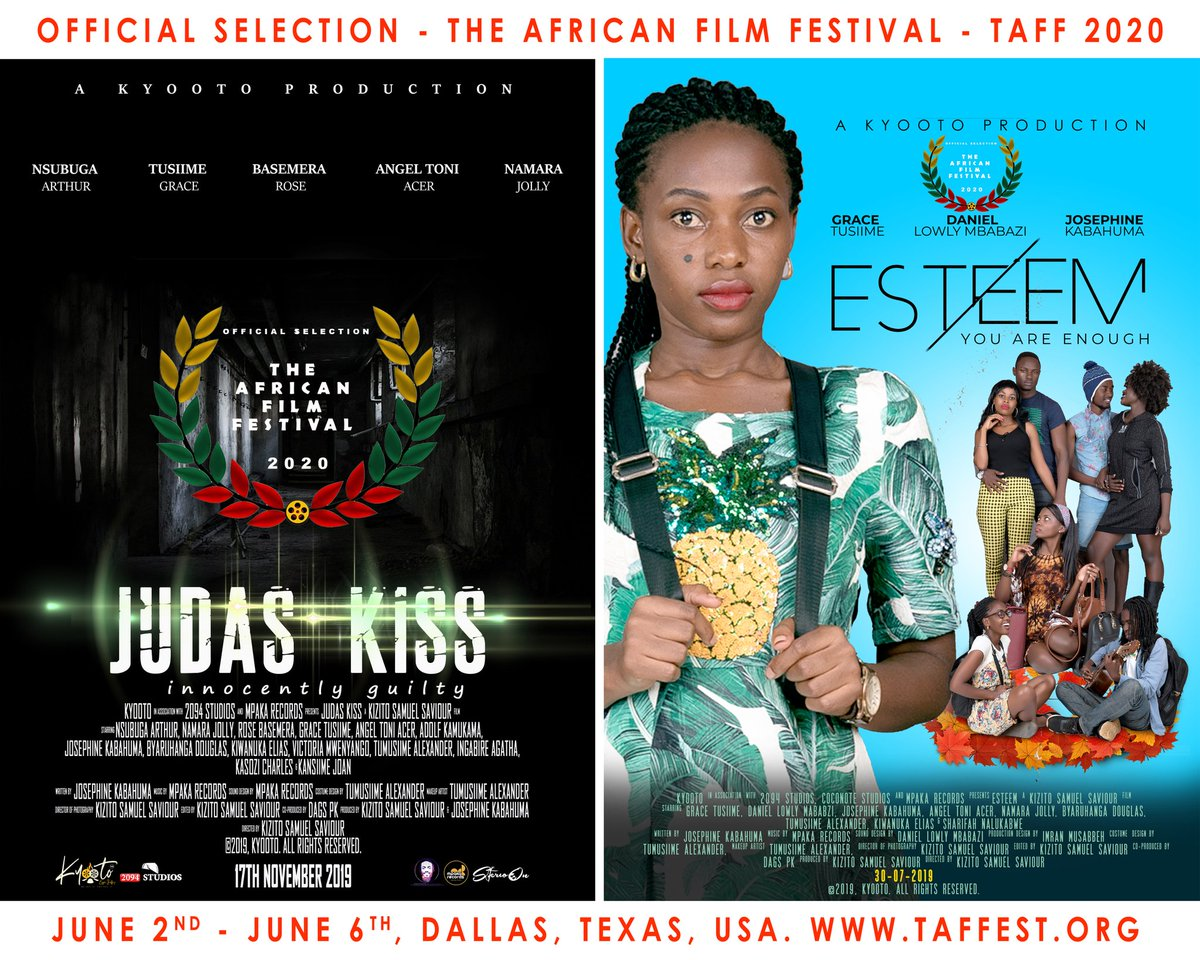 "We're excited to announce that Our two films ""JUDAS KISS"" and ""ESTEEM"" have been officially selected to participate and compete at The African Film Festival - TAFF 2020 in Dallas, USA this June 2020. Congratulations to the cast and crew teams of these two amazing films. #Film pic.twitter.com/iApMuZ9n85"