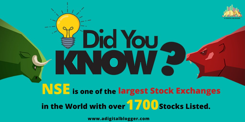 Did You Know !!!  NSE is one of the largest Stock Exchanges in the World with over 1700 Stocks Listed.  Follow us @adigitalblogger   #stockmarket #sharemarket #investing #trading #indiansharemarket #indianstockmarketpic.twitter.com/IIZ8W0FK5B