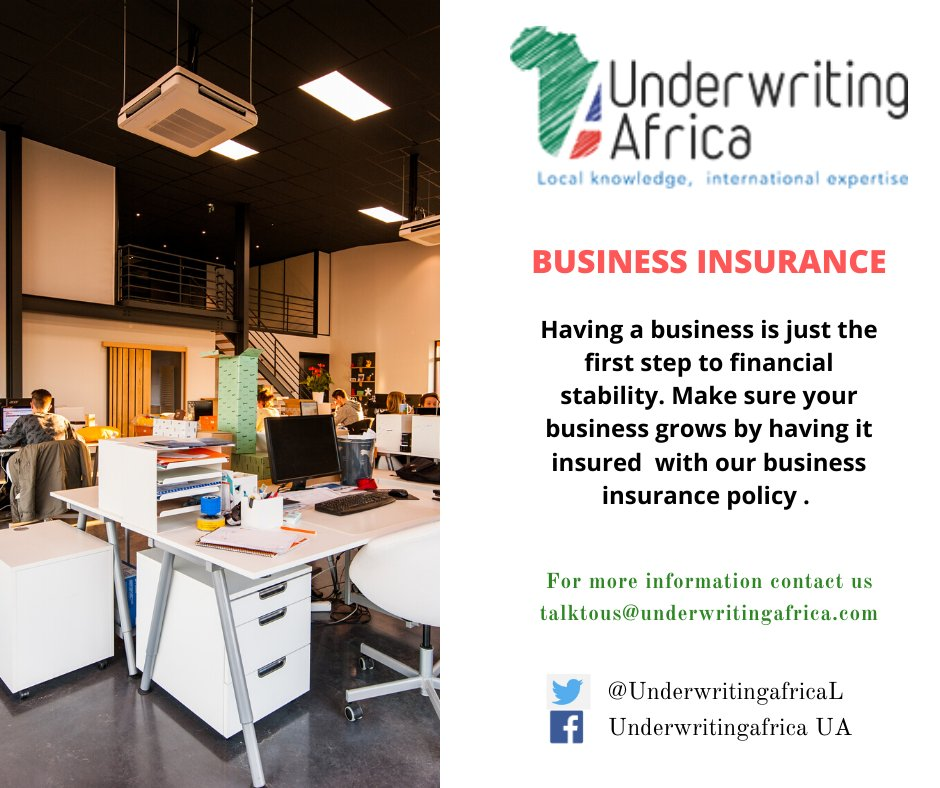 Further your business goals, as we secure all risks. Take out a business insurance cover with us. Talk to us +254 721 257 054 talktous@underwritingafrica.com #BusinessCover pic.twitter.com/arUnR6FKEh