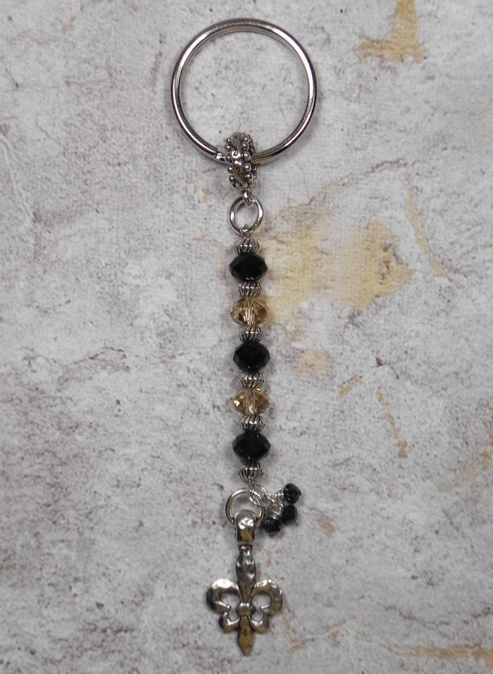 Crystal Fleur De Lis NOLA Beaded Handmade Keychain Split Key Ring Black Gold  @eBay #shopsmall #gifts #giftsforher #giftidea #buyhandmade #SmallBiz #handmadewithlove