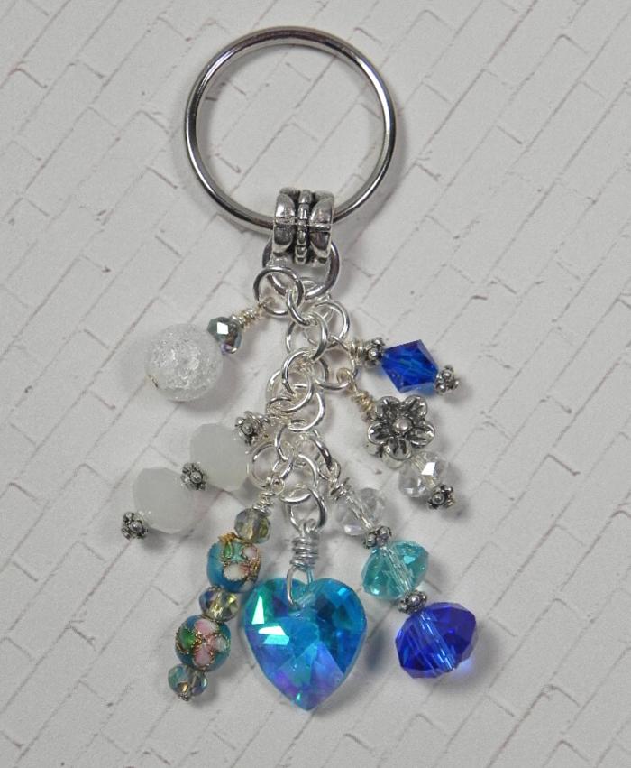 Heart Flower Crystal Beaded Handmade Keychain Split Key Ring Blue White  @eBay #shopsmall #gifts #giftsforher #giftidea #buyhandmade #SmallBiz #handmadewithlove