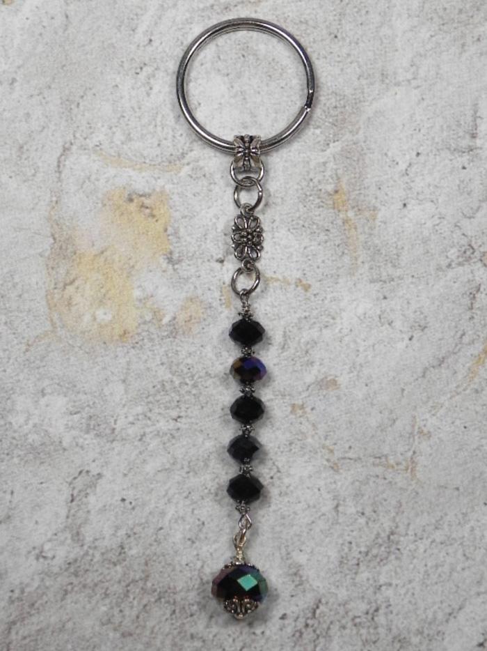 Flower Crystal Beaded Handmade Keychain Split Key Ring Bronze Black Silver  @eBay #shopsmall #gifts #giftsforher #giftidea #buyhandmade #SmallBiz #handmadewithlove