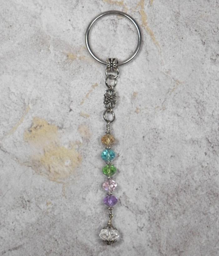 Flower Crystal Beaded Handmade Keychain Split Key Ring Pink Purple Green Blue  @eBay #shopsmall #gifts #giftsforher #giftidea #buyhandmade #SmallBiz #handmadewithlove