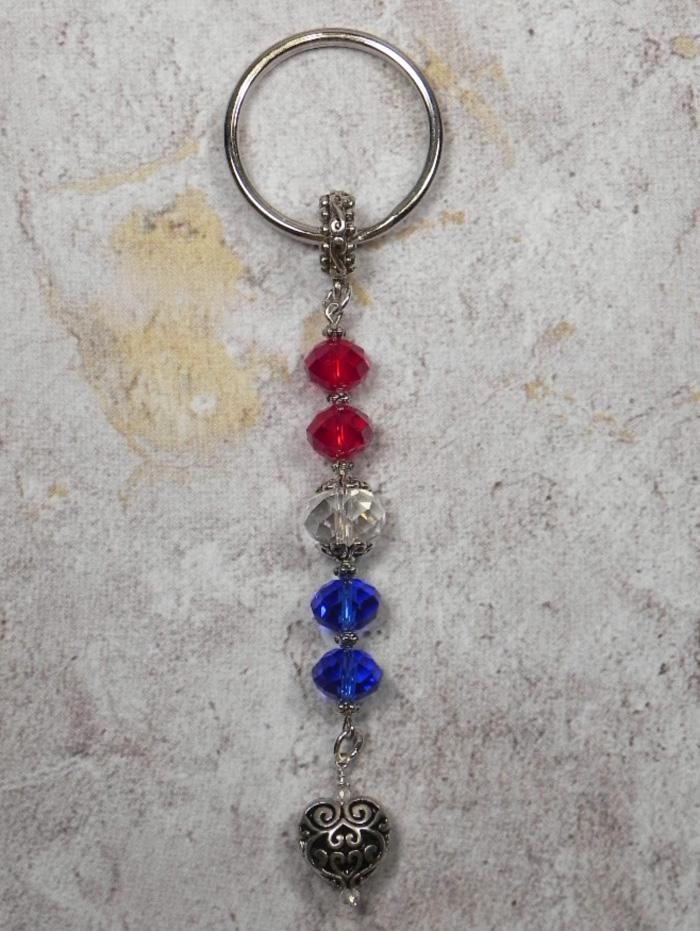 Crystal Heart Beaded Handmade Patriotic Keychain Split Key Ring Red Blue Silver  @eBay #shopsmall #gifts #giftsforher #giftidea #buyhandmade #SmallBiz #handmadewithlove