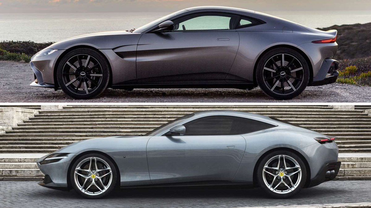 Top is Aston Martin's V8 Vantage & on the bottom is Ferrari's upcoming Roma GT.   Just me who thinks the Ferrari is suspiciously similar pic.twitter.com/qx922dOesa
