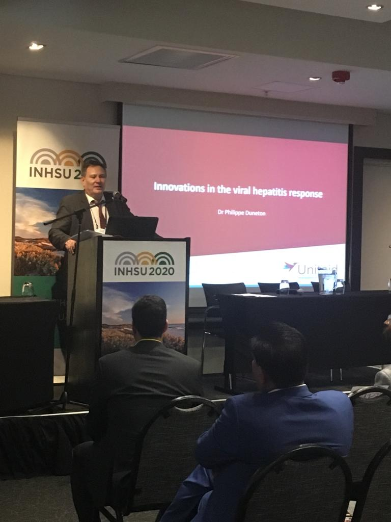 Unitaid contributed w/ partners to build the core elements of a global health response to #hepC  with better #diagnostics , simplified & more affordable #treatments , increased awareness and demand generation, said Unitaids Deputy ED Dr Duneton #INHSUAFRICA  #HCV