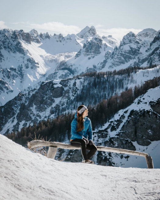 """Huge thanks to @malaposastmici for letting us repost this one! The dolomites gain their name from the rock they are mostly composed of; Dolomite! #guidebase  ... """"Baby, I wish it was cold outside. #dolomiti #ankeranbenga #foryourmountain #lasportiva . . . #womenwhohike"""