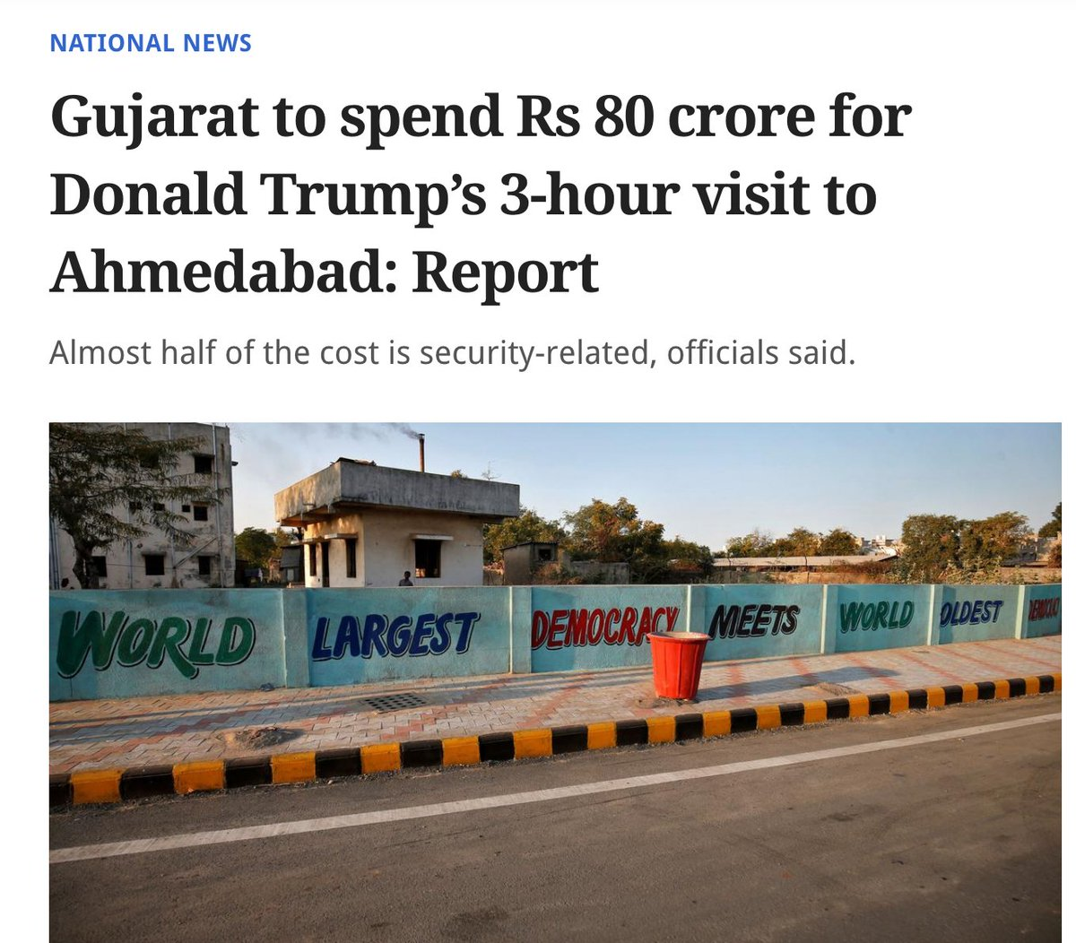 Even after spending Rs 80 crore, they have a grammatical error on wall😂. #TrumpIndiaVisit #GujratModel