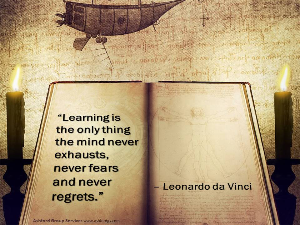 """""""Learning is the only thing the mind never exhausts, never fears and never regrets."""" - Leonardo da Vinci #WednesdayWisdom #WednesdayMotivation #learning #quotespic.twitter.com/irmOrBHMtS"""
