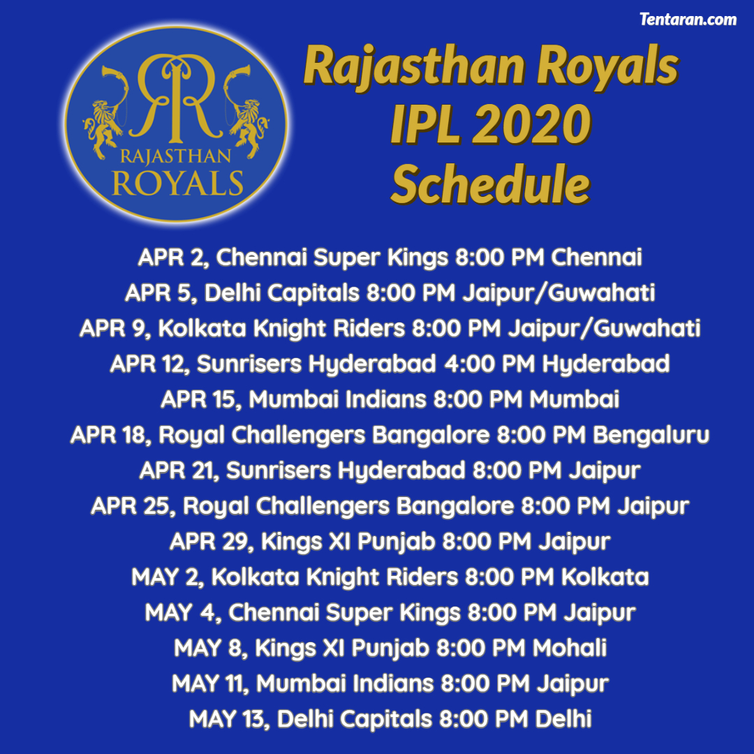 #RR full Schedule #IPL2020Follow @mytentaran for More updates#SteveSmith #ViratKohli #DavidWarner #RohitSharma#MitchellStarc #JaspritBumrah#PatCummins #MohammedShami #Kohli #Shami #Bumrah #Starc #Warner #INDvAUS #AUSvIND #Cricket #CricketMeriJaan #CricketLover