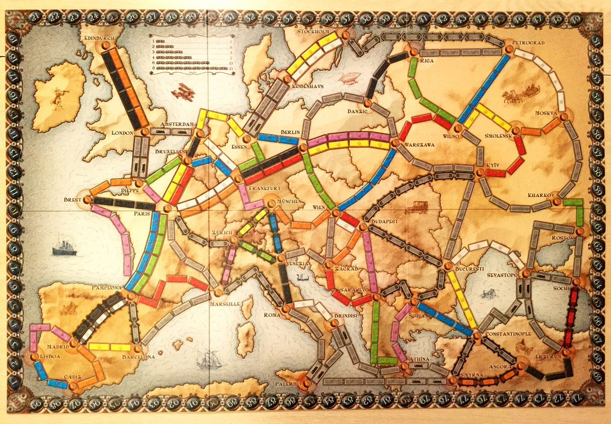That'd be a good hand in a game of @DaysOfWonder #TicketToRide #Europe (London-Wien-Moskva about 22 carriages including high scoring Budapest-Kyiv tunnel) https://www.daysofwonder.com/tickettoride/en/europe …pic.twitter.com/UG9XoYX9Gl