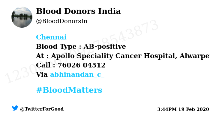 #Chennai Need #Blood Type :  AB-positive At : Apollo Speciality Cancer Hospital, Alwarpet Number of Units : 3 Primary Number : 76026 04512 Secondary Number : 8638490413 Illness : Blood Cancer Via: @abhinandan_c_ #BloodMatters Powered by Twitter