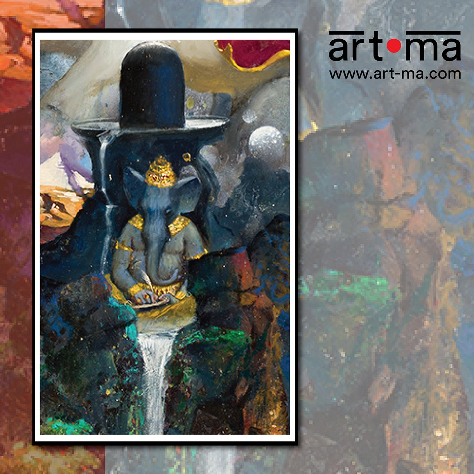 Our latest artwork symbolises the emblem of limitless power that holds the universe in one. Can you guess what it?  #newlaunch #comingsoon #teaser #indianart #artinindia #artma #revealingsoon #shiva #shiv #ganges #ganga #ganeshapic.twitter.com/Slb4fzDUTi
