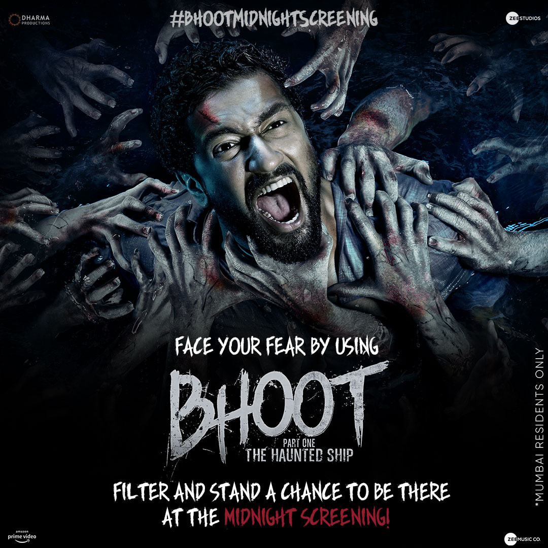 Are you brave enough to take this challenge? 😈  http://bit.ly/BhootSnapFilter   Steps to win:  1. Follow @ZeeStudios_ 2. Use the correct hashtag and reply.  3. Play and win!  #BhootMidnightScreening