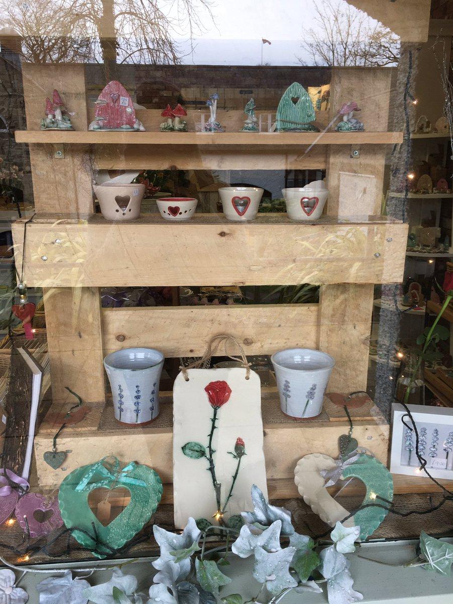 My window at the moment #Hearts #FairyDoors #Mushrooms #candleholders #pots #vases #wallart #handmade #cobaltceramics #stanhope #weardale #countydurham