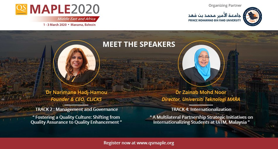 Pleased to announce that Dr Narimane Hadj Hamou, Founder & CEO of @CLI_CKS , and Dr Zainab Mohd Noor, Director at @uitmofficial, are joining us as #QSMaple2020 speakers!  Join us in #Bahrain for #QSMaple2020, registrations closing soon : http://bit.ly/qsmaple2020   #higheredpic.twitter.com/6dOkREDunt
