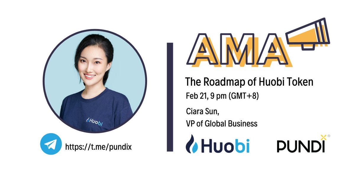 Winner announcement of #PundiX Telegram AMA on Feb 21 with @CiaraHuobi from @HuobiGlobal  Twitter: @DustyLoooza @TheSilverrr @CryptZen @SeptaNu83873326 @BeBitcoin1 @Absing13 @FurkanNabi  Telegram: @huydo @Shawn @radmaxco @Mindfulness92 🎁5 $HT for each🎁 Congratulations 🎊 🤗