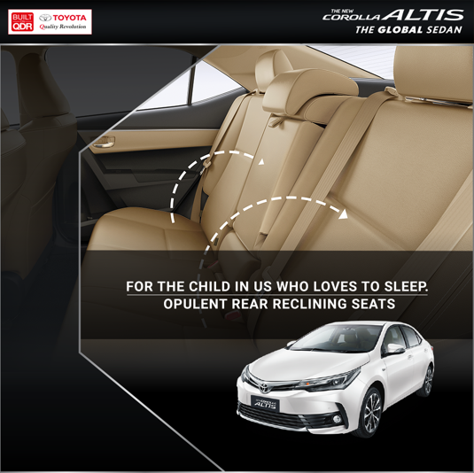 Tired after the days work? #Toyota got you covered. The #CorollaAltis comes with rear recliner seats for your short power naps. Book a test drive today! Visit https://t.co/8IrjY8utKU https://t.co/GNzQ76XPpm