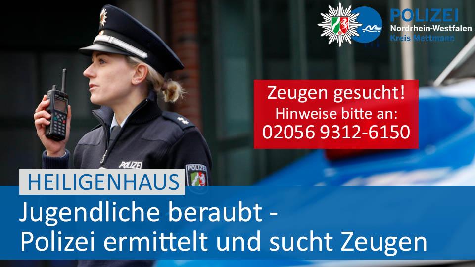 #Heiligenhaus: Am Dienstagabend wurden zwei 14- und 16-jährige Heiligenhauser von Jugendlichen auf dem Basildonplatz in Heiligenhaus beraubt. Die Täter flüchteten unerkannt mit der Tatbeute, eine orangefarbene O'Neill Jacke und eine JBL-Box. Siehe:  https://fcld.ly/7z9ilptpic.twitter.com/a4AtZF6MXb