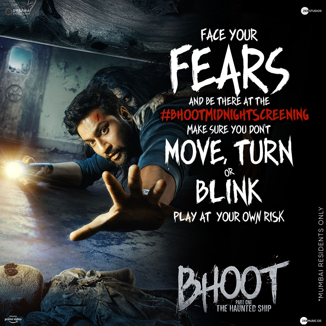 It's time to witness the thing that haunts you the most! Face your fears at the #BhootMidnightScreening.   Steps to win: 1. Follow @ZeeStudios_ 2. Use the correct hashtag and reply.  3. Play and win!