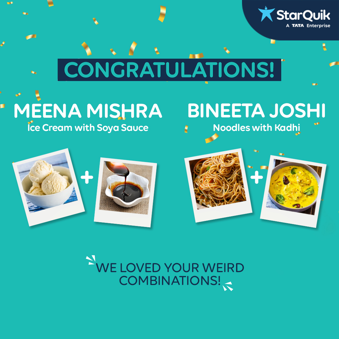 Congratulations Meena Mishra & Bineeta Joshi!  Thank you for participating & making us go #ButWhy  DM us your contact details so that we can get in touch with you for your prize.  #Contest #ContestWiners #ParKyu #WeirdFoodCombinations #AasaanGrocery #QuikContest #ContestAlert