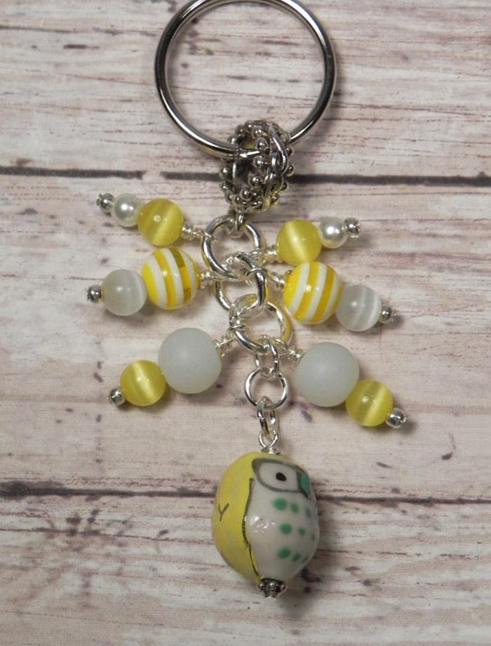 Owl Ceramic Glass Cat Eye Beaded Handmade Keychain Split Key Ring Yellow White  @eBay #shopsmall #giftsforher #giftidea #buyhandmade #handmadebyme #handmadewithlove