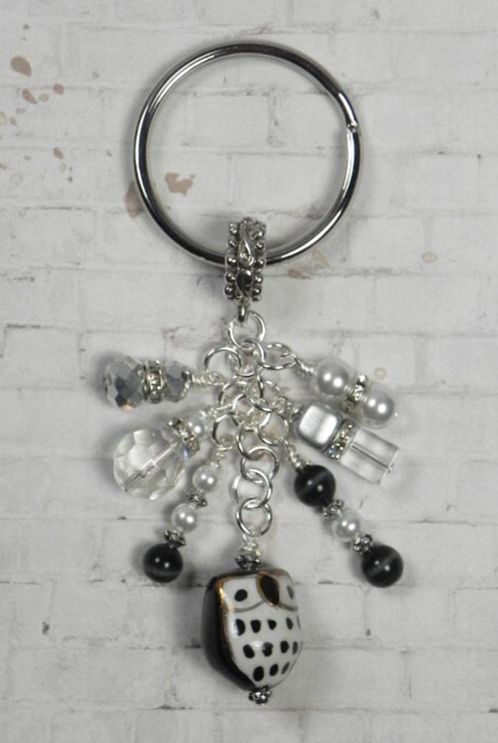Owl Ceramic Crystal Glass Beaded Handmade Keychain Split Key Ring Black Silver  @eBay #shopsmall #gifts #giftsforher #buyhandmade #handmadewithlove