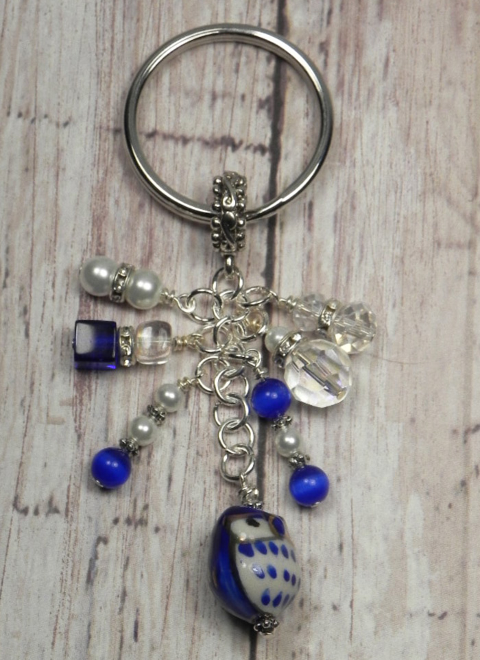 Owl Ceramic Crystal Glass Beaded Handmade Keychain Split Key Ring Blue White  @eBay #shopsmall #gifts #giftsforher #buyhandmade #handmadewithlove