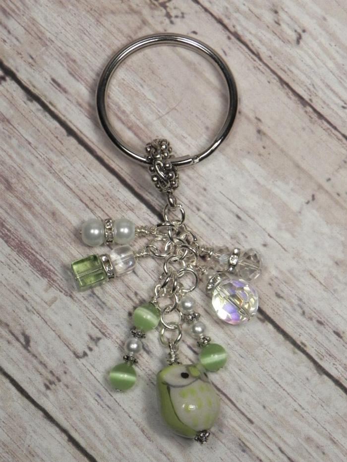 Owl Ceramic Crystal Glass Beaded #Handmade Keychain Split Key Ring Green White  @eBay #shopsmall #giftsforher #giftidea #buyhandmade  #handmadewithlove