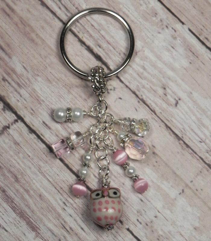 Owl Ceramic Crystal Glass Beaded #Handmade Keychain Split Key Ring Pink White  @eBay #shopsmall #gifts #giftsforher #buyhandmade #SmallBiz #handmadewithlove
