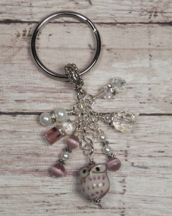 Owl Ceramic Crystal Glass Beaded #Handmade Keychain Split Key Ring Purple White  @eBay #shopsmall #gifts #giftsforher #giftidea #buyhandmade #SmallBiz #handmadewithlove