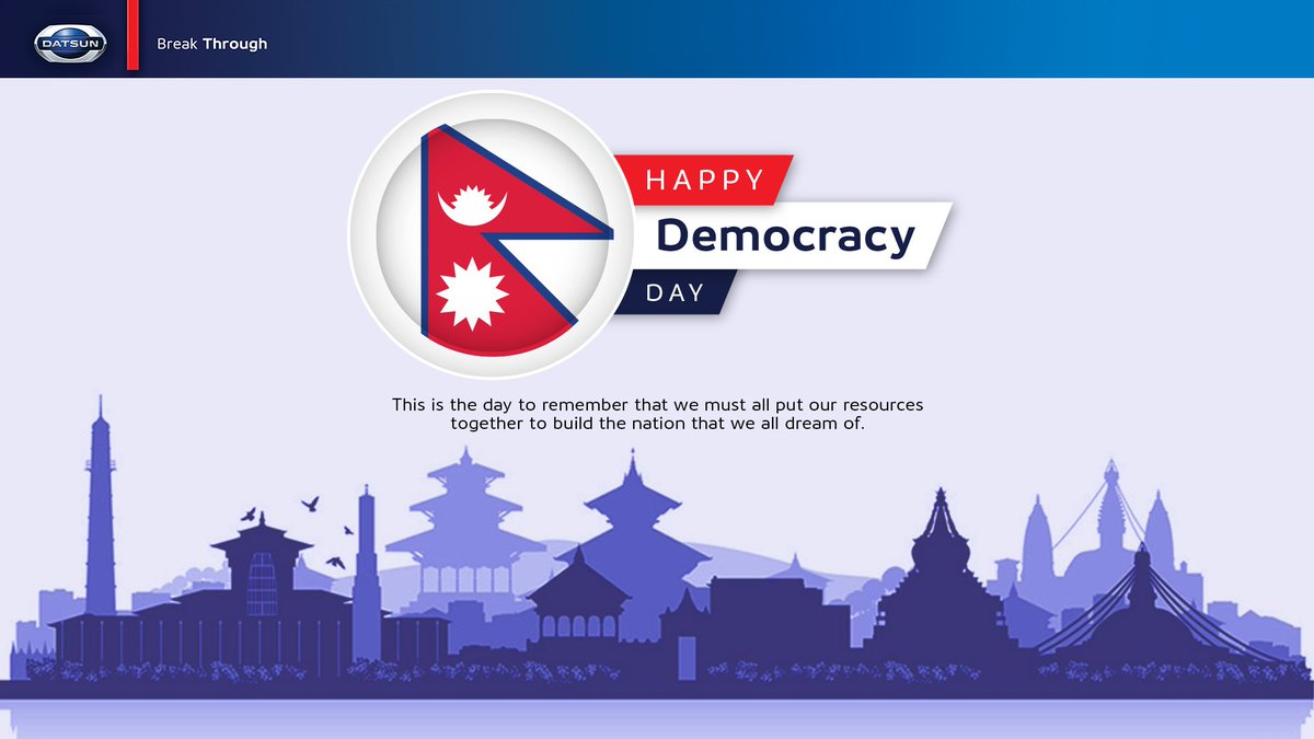This is the day to remember that we must all put our resources together to build the nation that we all dream of. Happy Democracy Day.  #DemocracyDay #DatsunNepal<br>http://pic.twitter.com/I6mSom00TX