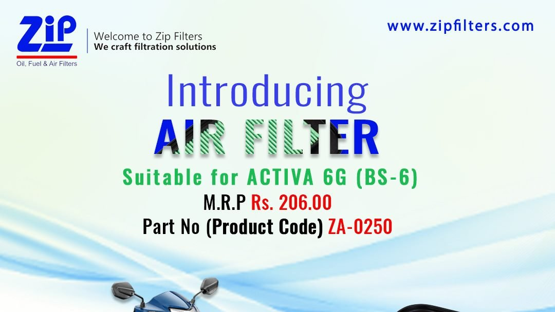 Introducing Air Filter Suitable for the all-new ACTIVA 6G (BS-6).   Check out our wide range of filtration solutions at - http://www.zipfilters.com  #ZipFilters #Carfilters #AirFilters #CabinFilters #OilFilters #FuelFilters #Manufacturer #NewLaunch #Seller #Honda #Activa #Activa6Gpic.twitter.com/nV4etUfD6N