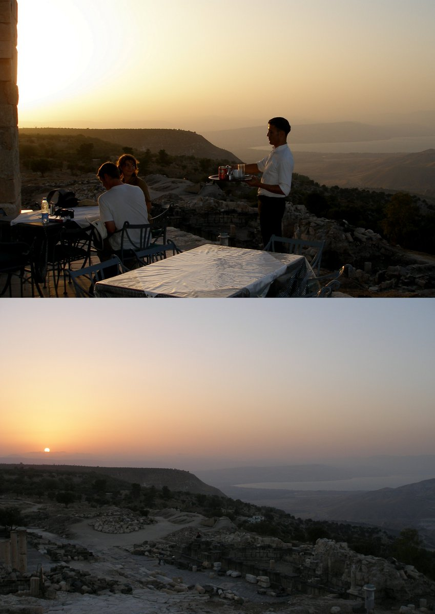 There's another, comparable vantage point: Gadara, aka Umm Qais, in north Jordan. Wonderful Greco-Roman ruins, fab cafe in the ruins, & a panorama that includes #Jordan itself, #Israel, #Lebanon (Mt. Hermon) & #Syria (Golan heights). With Sea of Galilee (Tiberias/Kinneret).pic.twitter.com/XY0uFySPzE