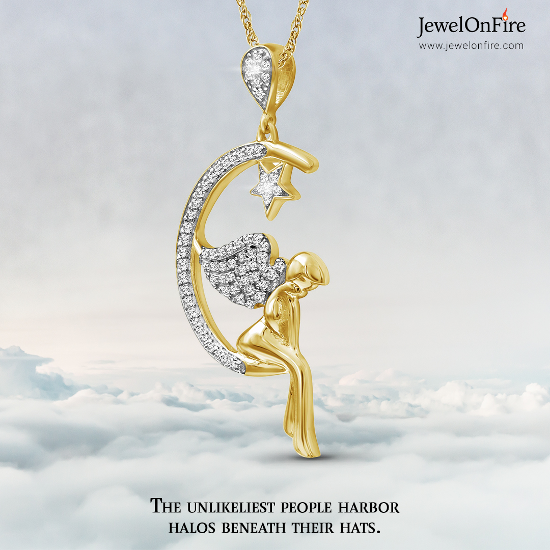 """""""The guardian angels of life fly so high as to be beyond our sight, but they are always looking down upon us."""" ―Jean Paul Richter  #pendant #angelpendant #moonpendant #heartpendant #diamondpendant  #jewels #jewelry #women #gift #jewelrylover #jewelrystore #JOF #JewelOnFire"""