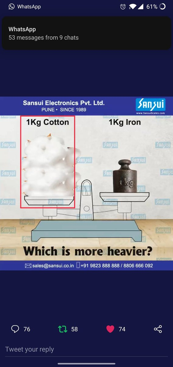 Cotton is more heavier✍️  #sansui_scale #SEPL  @sansuiscale  Join  @Rebel_diaries_1 @Aka5hKr @Zaaid08 @wasimkh00 @sanketdhende @DayalOjha4 @avii4ever @Shyam904 @DJ_Bhayani @Rittick22 @TechyDixit @karan875 @Vivek1924 @tweettovikki @Aaravsingh28 @Mitesh22392014 @HASHIMWARSI707