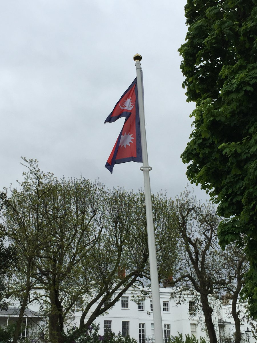 Flag of #Nepal in St Peters Square #W6 celebrates #DemocracyDay - Prajatantra Diwas – when the Rana Dynasty was overthrown in 1951 <br>http://pic.twitter.com/xOP0Ks7Y5K