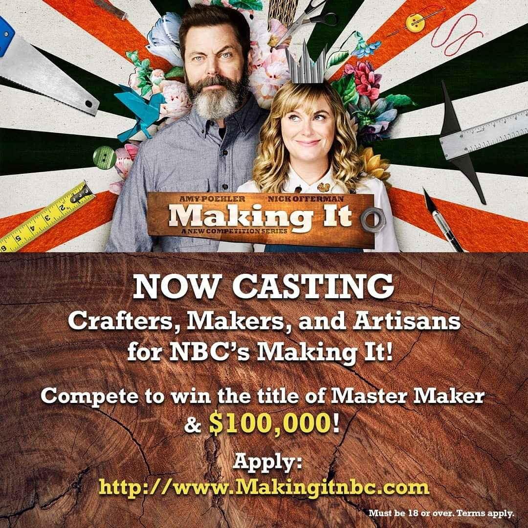 #CastingCall for Crafters, Makers and artisans for an NBC #TVShow! http://www.makingitnbc.com/ pic.twitter.com/0I6xYY074X