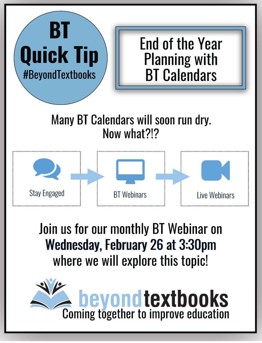 What do you do when your BT Calendars begin to run dry? #QuickTip #BeyondTextbooks #Webinarpic.twitter.com/zZWZvH30pu