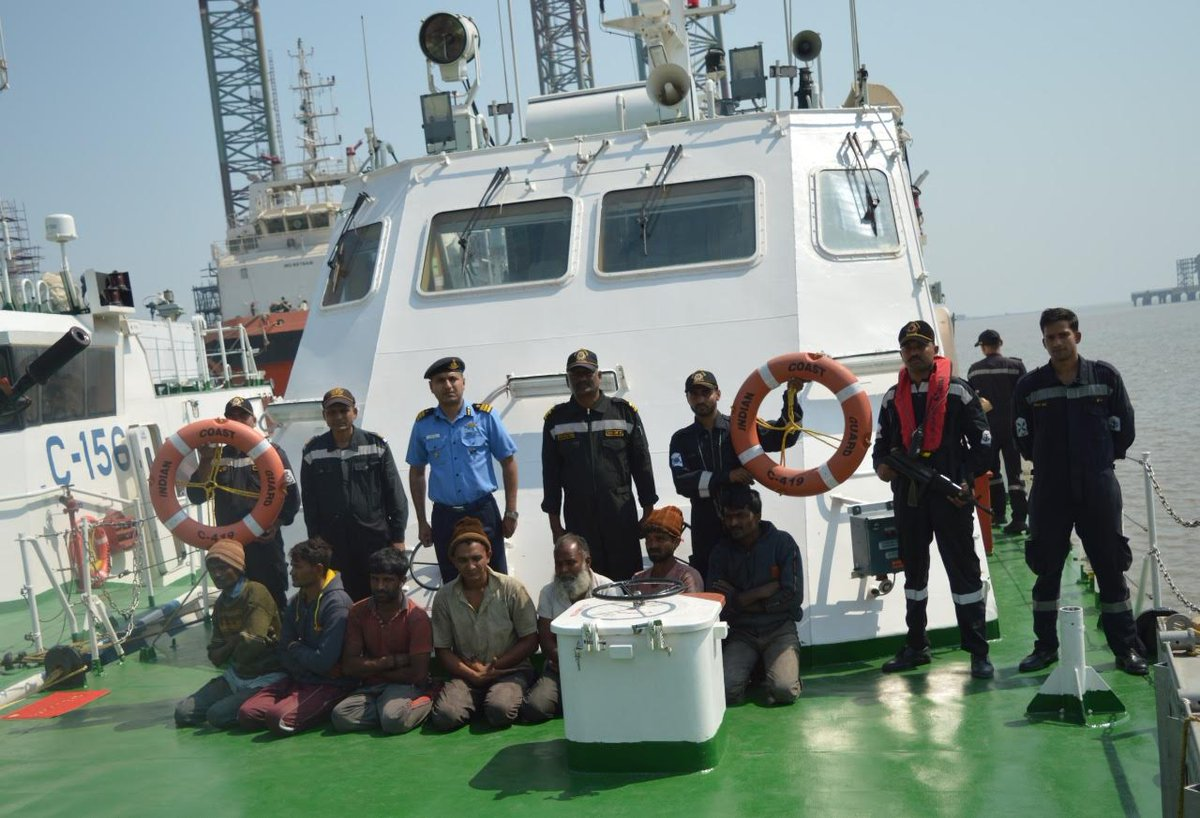 Coast Guard nabs boat off Gujarat coast with 9 crew for mid-sea theft in scrapped foreign ship