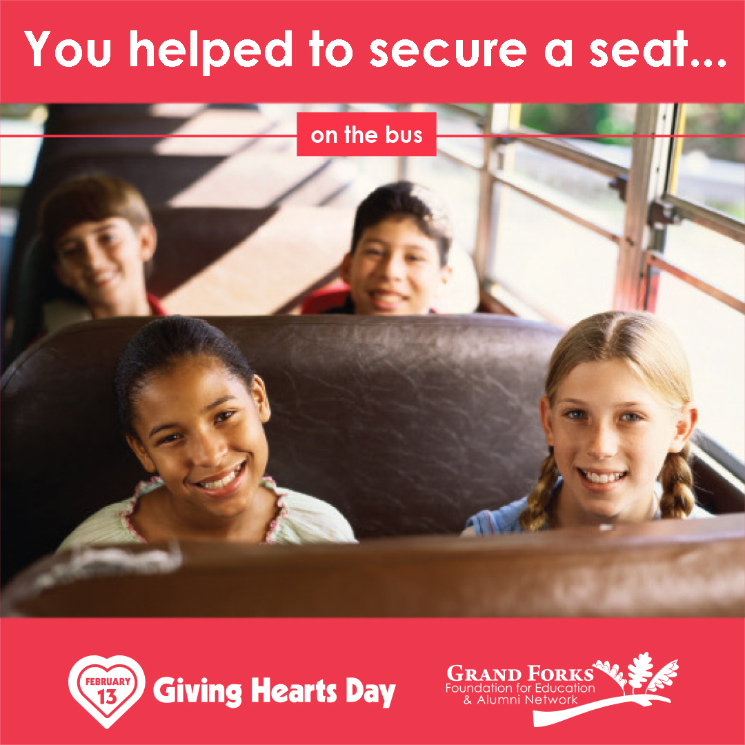 "Thank you for helping us ""secure more seats"" on the bus for our @gfschools students in need on #GivingHeartsDay!!! #secureaseat #GFSchools #ILoveGF #GFisCooler #GFisKinder"