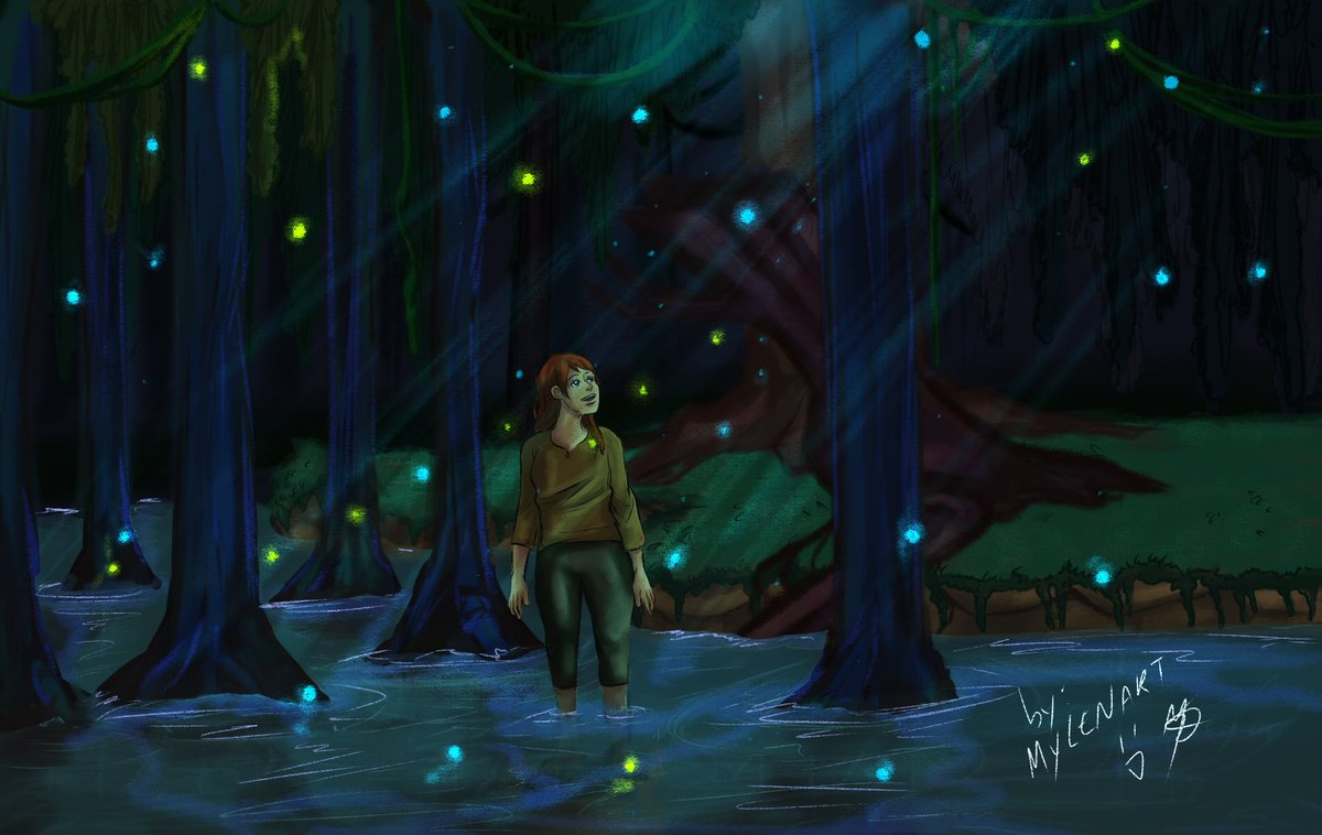 """""""sapphire swamp"""" : It's a fictional swamp from a project that i hope someday i can finish it (cause everytime i try to do  something, i end up not finishing it) ... And that little girl over there is Ayla, an new oc of mine.  #originalcharacter #myoriginalcharacter #drawing #myocpic.twitter.com/KJF0el6MoA"""