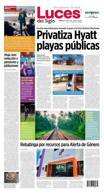 Buenos días, lectores! #FelizJueves #QuintanaRoo Iniciamos la jornada informativa con la portada y las secciones de @lucesdelsiglo @reformanacionalpic.twitter.com/88d5m6UgUK