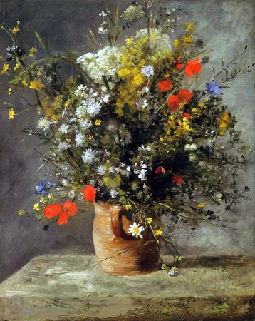 """""""Jarrón de flores"""" - Pierre-Auguste Renoir, 1866.Muestra una variedad de flores a la manera tradicional francesa, estilo: Impresionismo."""