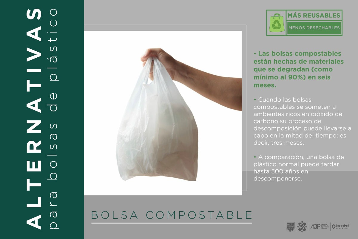La Ley de Residuos Sólidos en la#CiudadDeMéxico menciona que queda prohibida la comercialización, distribución o entrega de bolsas de plástico y otros materiales nobiodegradables de un solo uso.¡Cuidemos el #MedioAmbiente!Checa más información en: https://bit.ly/2FF3Rho.
