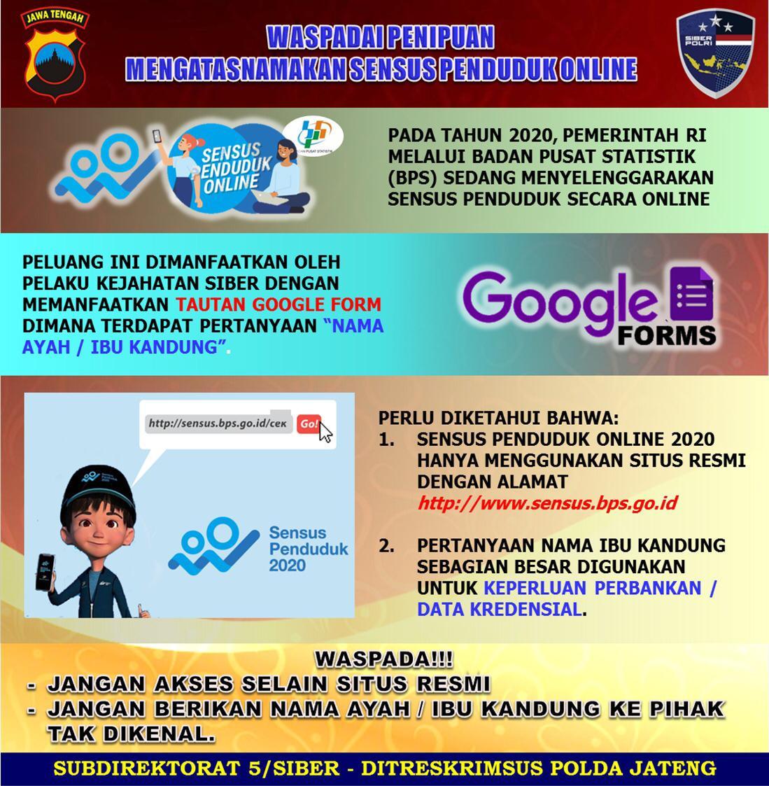 Replying to @ndorokakung: Awas penipuan dengan mencatut situs sensus online