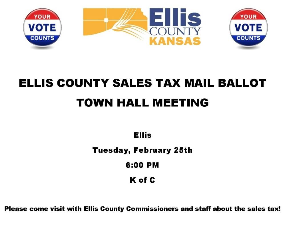 Our next Sales Tax Election Town Hall meeting will be in Ellis.  Please come visit with us, ask questions, and find out more about Ellis County! pic.twitter.com/SUrCp89dST