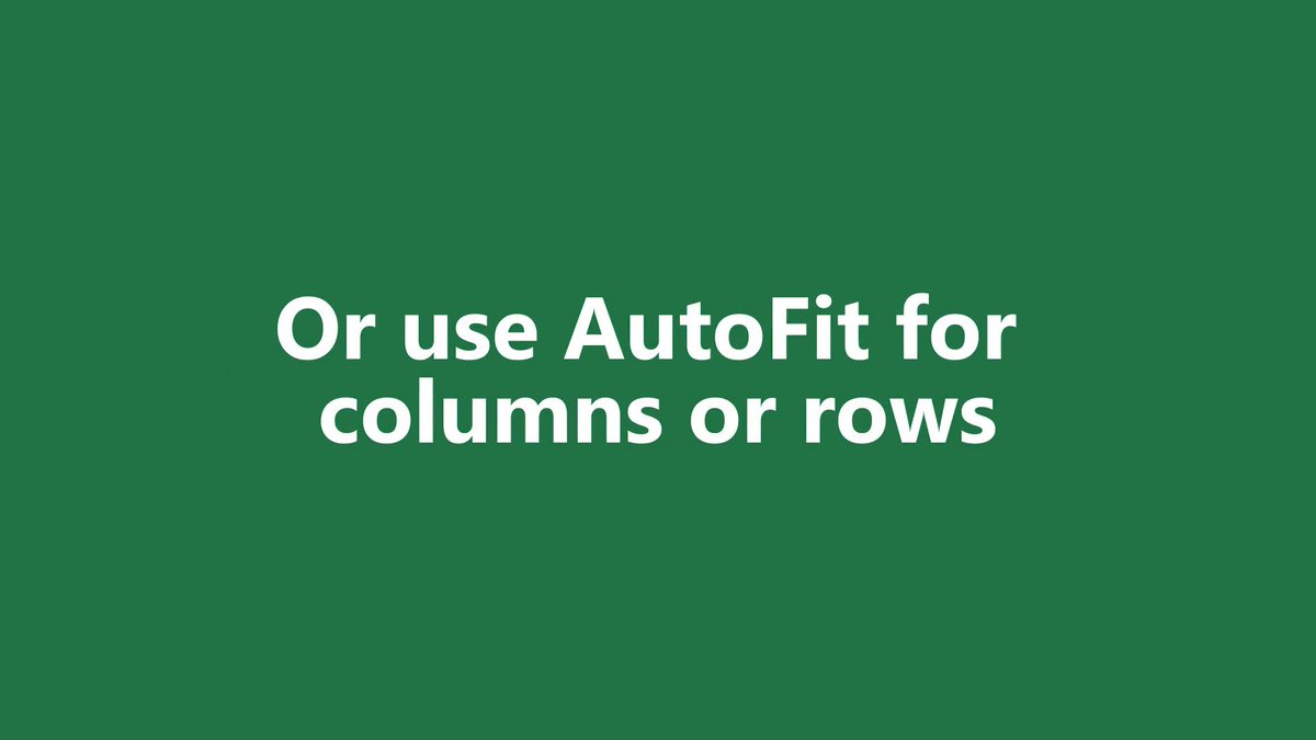 Autofit your columns and rows to get all your ducks (cells) in a row. 🦆 msft.it/6011Tw4iT