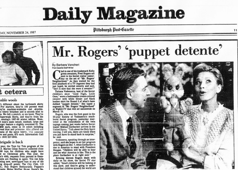 Pittsburgh Post Gazette On Twitter While The Soviet Tv Host Was At Mr Rogers Studio A Message Board Outside Read In English And Russian On The Bridge Of Trust And The Rainbow Of