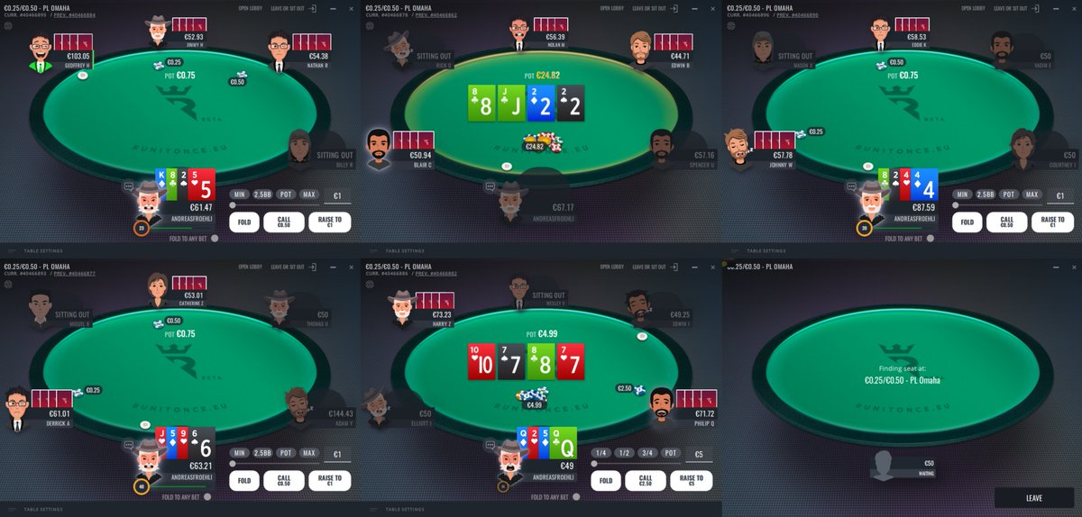 twitch.tv/andreasfroehli live with early stream, playing on @RunItOncePoker